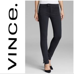 Vince Gray Ponte Skinny Pants with Zipper Pockets